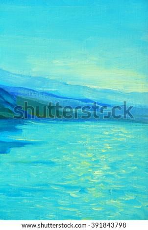 sea, morning, mountains, painting, illustration, impressionism, landscape - stock photo