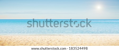 Sea morning panorama. Tropical horizontal composition - stock photo
