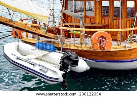 Sea Motor Boat For Any Touristic Aim such as Diving, Disco and Party, Voyage, Fishing, Swimming and Sunbathing, Leisure and Speedboat Pleasure - stock photo