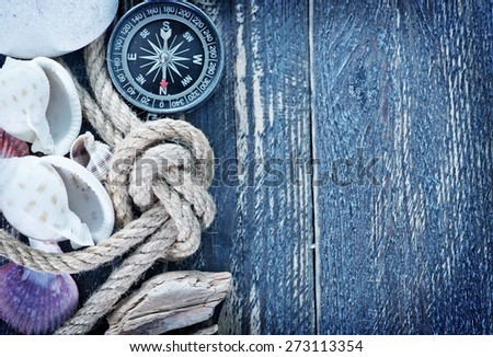 Sea objects - shells, sea stars on wooden planks - stock photo