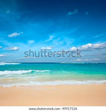 Sea ocean beach in summer - stock photo