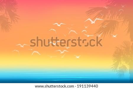 sea ocean seagulls palms holidays horizontal landscape raster version - stock photo