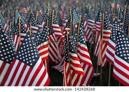 Sea of American Flags - stock photo