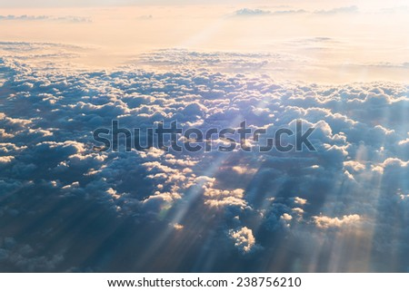 sea of clouds with sunbeam in the morning - stock photo