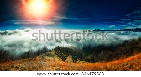 Sea of fog in autumn in the mountains