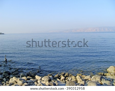 Sea of Galilee taken from north part near Capernaum Israel