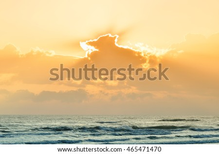 Sea of Rimini,Italy,at sunset in summer