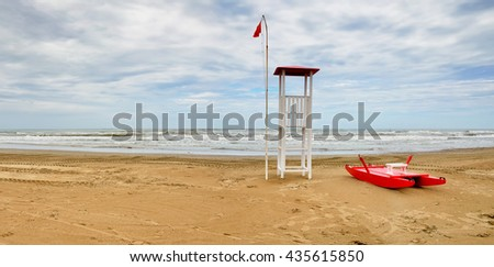 sea of Rimini,Italy, in winter with cloudy sky - stock photo