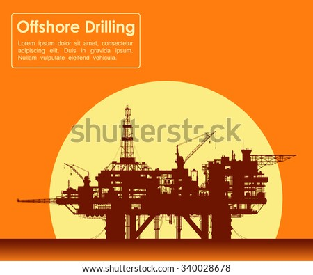 Sea oil rig. Offshore drilling platform in the sea over yellow sun. Detail raster illustration.