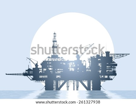 Sea oil rig. Oil platform in the deep sea over rising sun.  Raster version of the illustration. - stock photo
