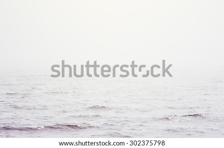 sea on a foggy day, retro style image