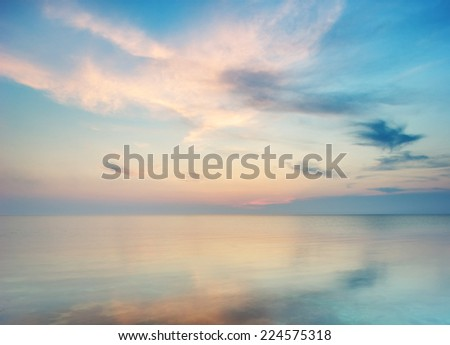 Sea on the the sunset. Nature composition. - stock photo