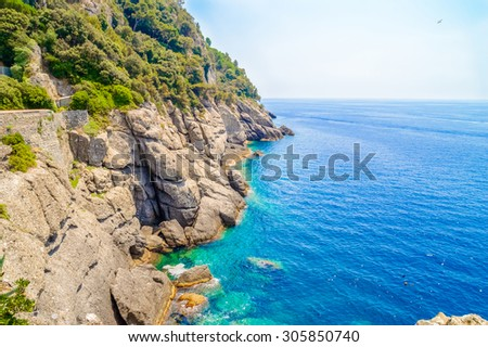 Sea or ocean rocks coastline and the blue sea water, with green bushes and trees, on a bright hot summer day - stock photo