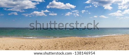 Sea panorama with clouds - stock photo