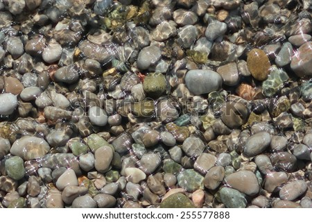 Sea pebbles in water. Ripples on the surface of water and solar patches of light. - stock photo