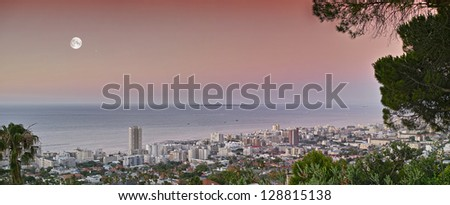 Sea Point in moon shine - Cape Town - stock photo