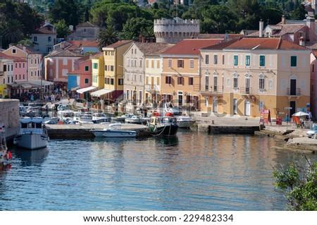 Sea port and houses at Veli Losinj - Croatia - stock photo