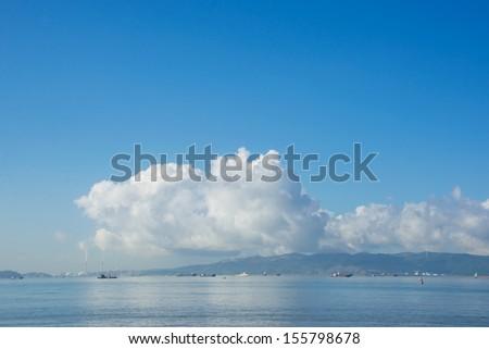 sea port under blue sky - stock photo