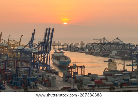 sea port with the sunrise in the morning. - stock photo