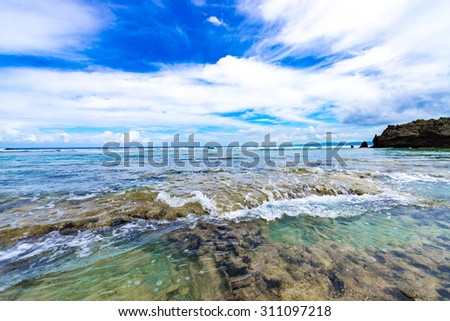Sea, reef, landscape. Okinawa, Japan, Asia.