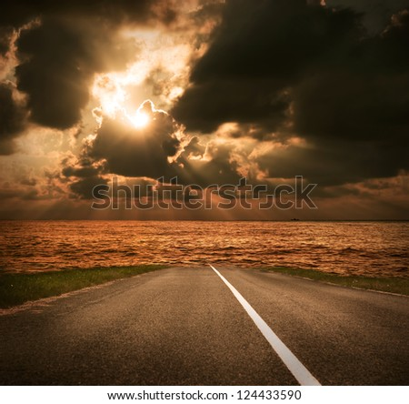 Sea Road at Sunset - stock photo