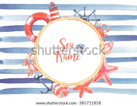 Sea  round frame: rope, life buoy, lighthouse, algae, corals, stars, shells, helm, anchor, crab. Blue stripes on a white background. Watercolor - stock photo