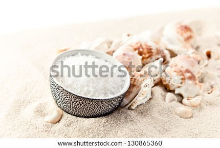 Sea salt and cockleshells on sea sand,white background - stock photo