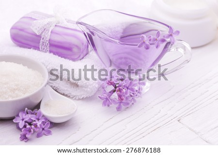 sea salt and essential oils, purple lilac. spa - stock photo
