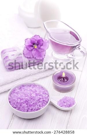 sea salt and essential oils, purple violet. spa - stock photo