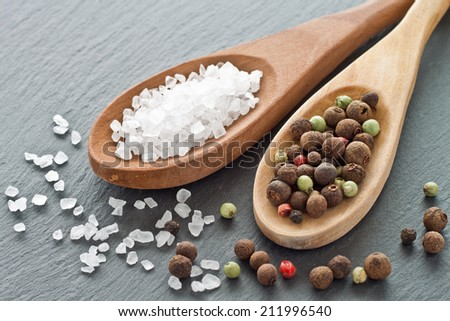 Sea salt and peppercorns on wooden spoons - stock photo
