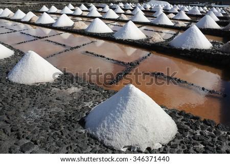 Sea salt harvest - stock photo