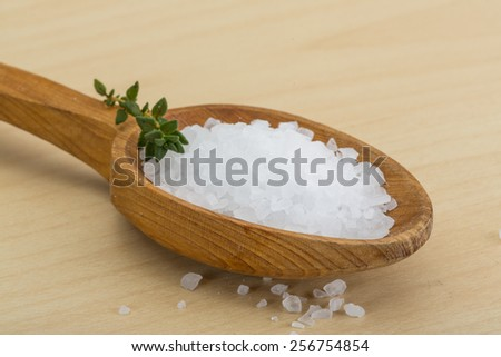Sea salt heap crystal with thyme branch