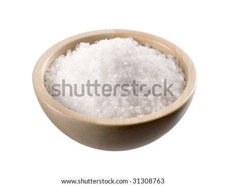 Sea salt in a  wooden bowl - stock photo
