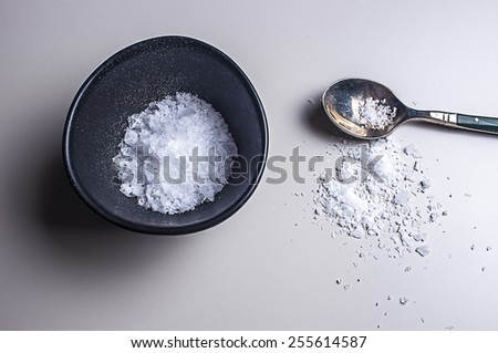 Sea Salt in salt bowl with spoon