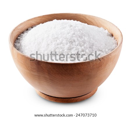 Sea salt in wooden bowl on white background with clipping path - stock photo