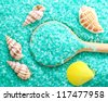 Sea salt in wooden spoon, blue sea salt - stock photo