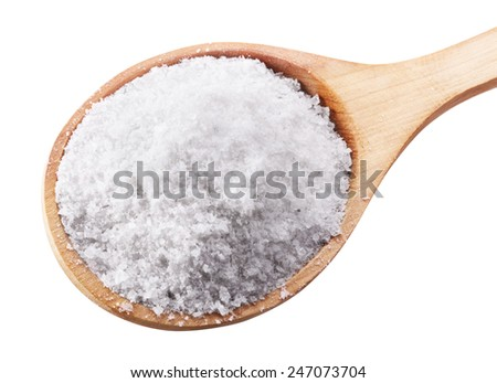 Sea salt in wooden spoon on white background. Clipping Path