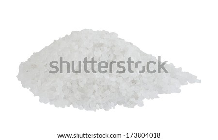 Sea salt isolated on white background - stock photo