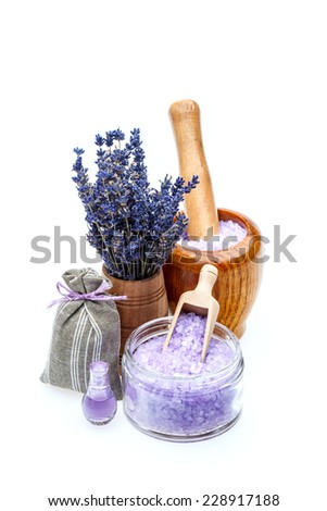 Sea salt with lavender isolated on white background  - stock photo