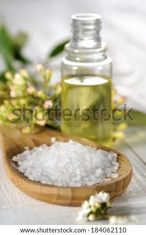 sea salt with leaves - stock photo