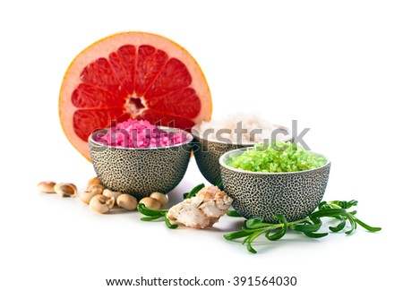 Sea salt with rosemary and grapefruit isolated on a white background - stock photo