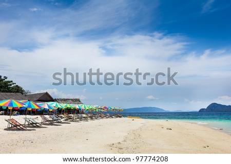 Sea Sand and Beach on Paradise Island in Phuket, Thailand - stock photo