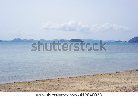 Sea sand sky and summer day for background