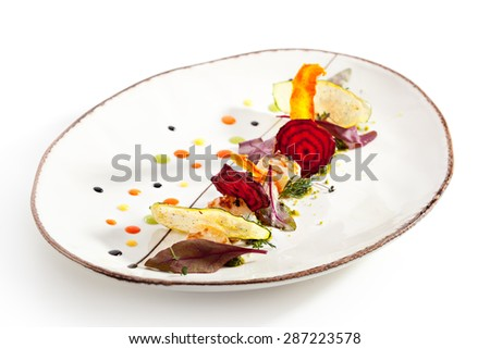 Sea Scallop with Fried Vegetables Chips - stock photo