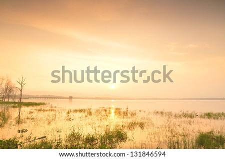 Sea scape colorful , sun set - stock photo