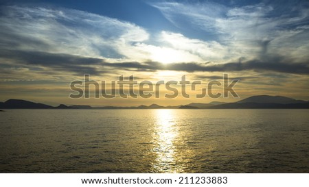 Sea scape scene, beach ocean sunset landscape.