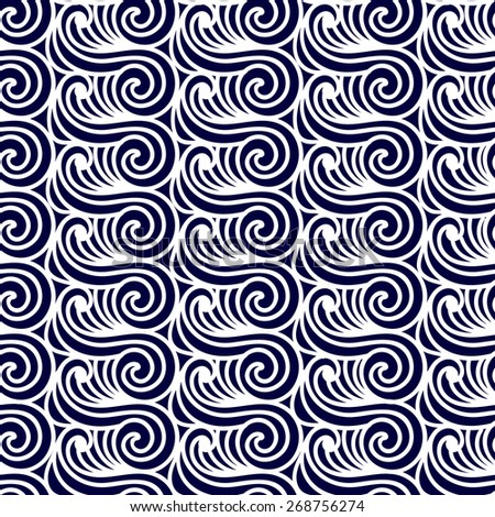 Sea Seamless Pattern. Abstract asian waves  background. - stock photo