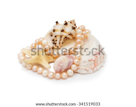 sea shells, pearls