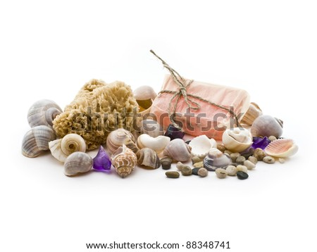 sea â??â??shells, sponges and natural soap - stock photo