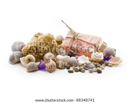 sea â??â??shells, sponges and natural soap - stock photo